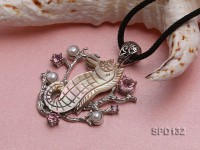 Seahorse-shaped Shell Pendant with Freshwater Pearls and Zircons