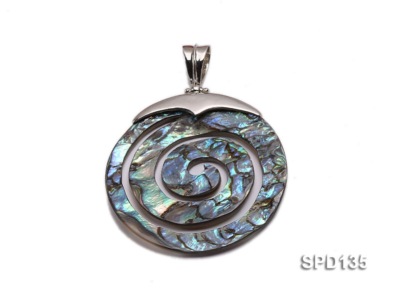 45mm Spiral Abalone Shell Pendant with Argent Gilded Connector