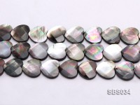 Wholesale 18x17mm Black Heart-shaped Faceted Seashell String