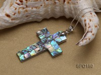 Cross-shaped Abalone Shell Pendant With 18k Gold Gilded Connector