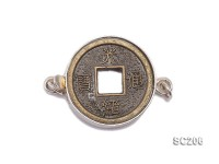15.5mm Single-strand Copper-coin-inlaid Sterling Silver Clasp