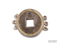 24mm Three-strand Copper-coin-inlaid Sterling Silver Clasp