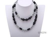 13.5mm Black Agate and Grey Seashell Pearl Necklace