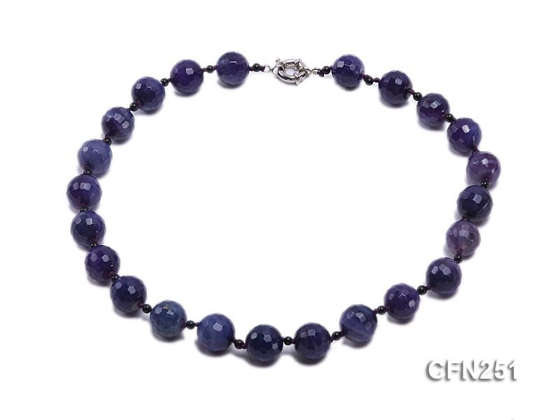 16mm Dark Purple Round Faceted Gemstone Necklace