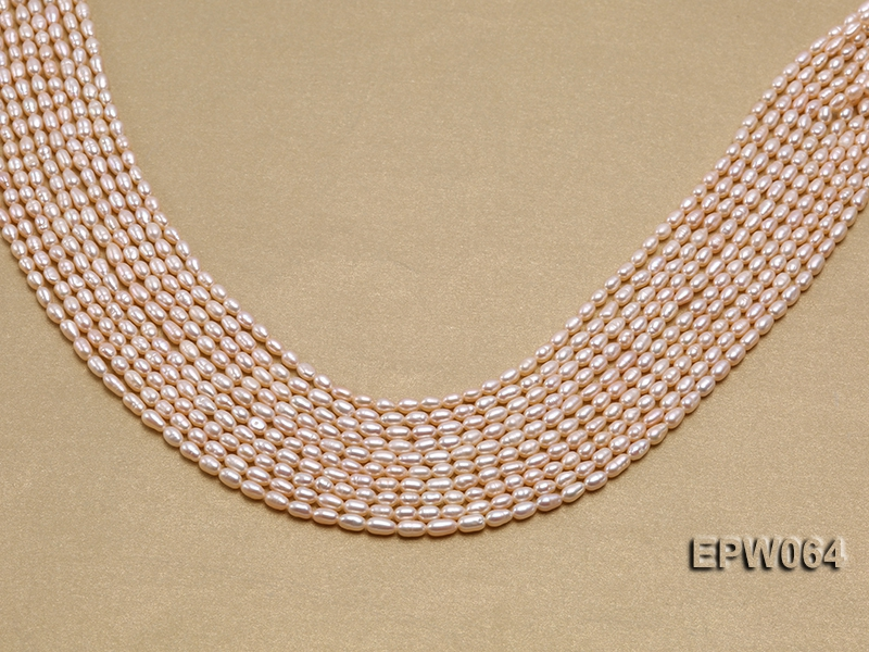 Wholesale Nice-quality 3.5×5.5mm  Rice-shaped Freshwater Pearl String