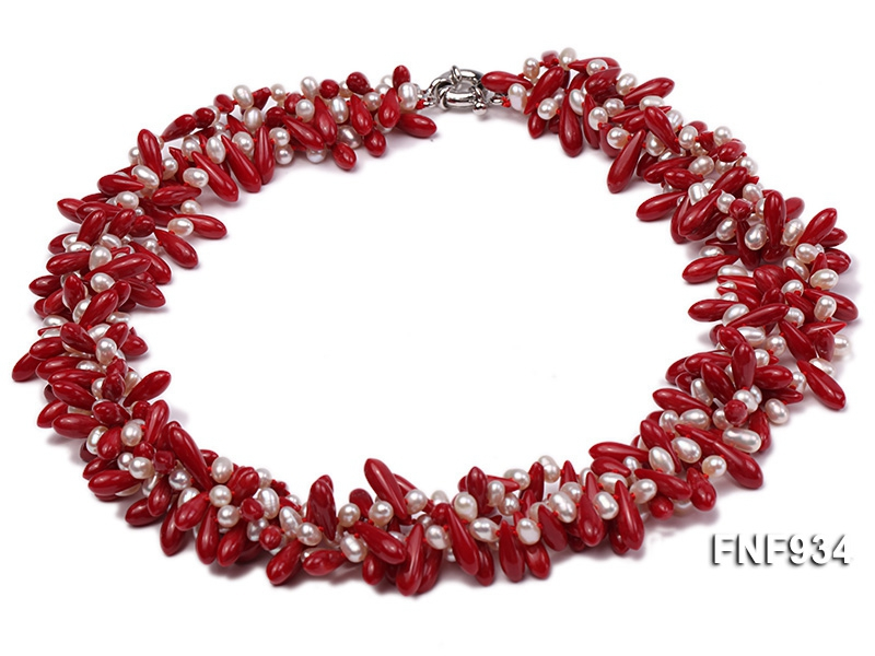 Four-strand 4x6mm White Freshwater Pearl and Red Coral Beads Necklace