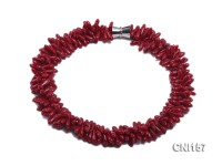 5x13mm Irregular Red Three-Strand Twisted Necklace