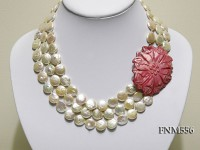 3 strands 13mm pink button freshater pearl necklace with seashell clasp