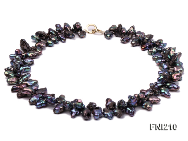 Classic 9x14mm Black Cross-shaped Freshwater Pearl Necklace