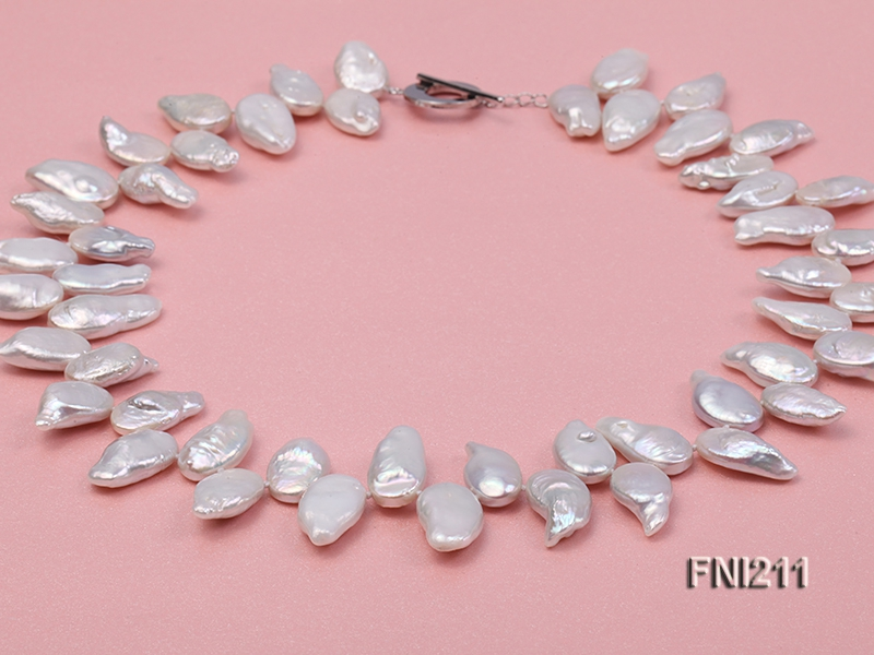 Classic 11×17-11.5x19mm White Seed-shaped Freshwater Pearl Necklace
