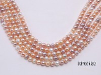 Wholesale 8-9mm Multi-color Round Freshwater Pearl String