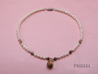 natural 7-8mm white round freshwater pearl necklace with grey quartz