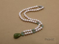 natural 6.5-7.5mm white round freshwater pearl necklace with drop aventurine
