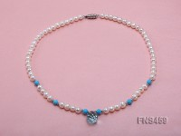 Natural 6-7mm white round freshwater pearl necklace with blue turquoise and crystal