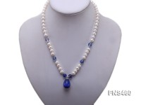 natural 6-7mm white round freshwater pearl necklace with blue drop crystal