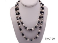 9-11mm white grey and black off-round freshwater pearl necklace