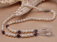 natural 6-7mm white round freshwater pearl necklace with natural amethyst and crystal
