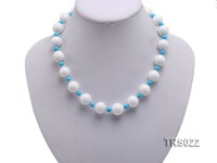 Round White Tridacna Beads and Turquoise Beads Necklace