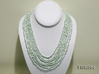 7 strands 6-7mm green irregular shape freshwater pearl necklace