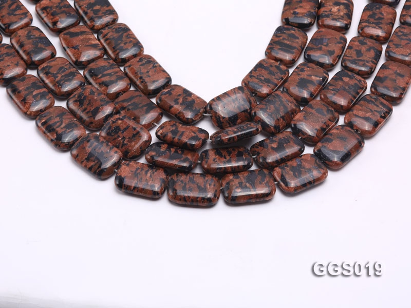 wholesale 18*25mm rectangular goldstone piece strings