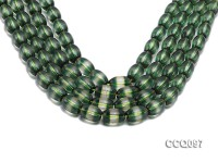 Wholesale 10x13mm Oval Translucent Crystal Beads with Green Stripes