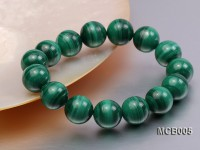 14mm Round Malachite Beads Elasticated Bracelet
