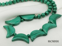 6mm Malachite Beads and Crescent-shaped Malachite Pieces Necklace