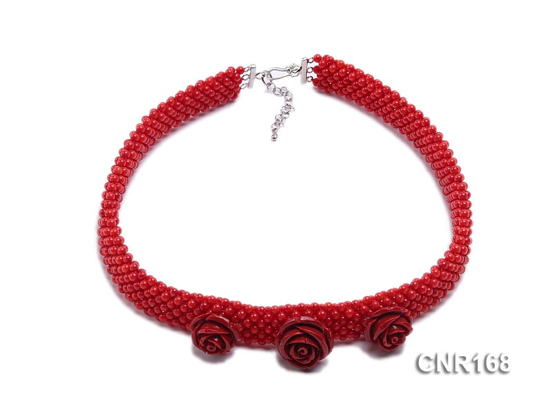3.5mm Red Round Woven Coral Necklace with Carved Flowers