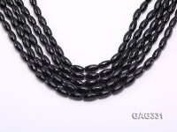 wholesale 8*16mm black oval Faceted Agate Strings
