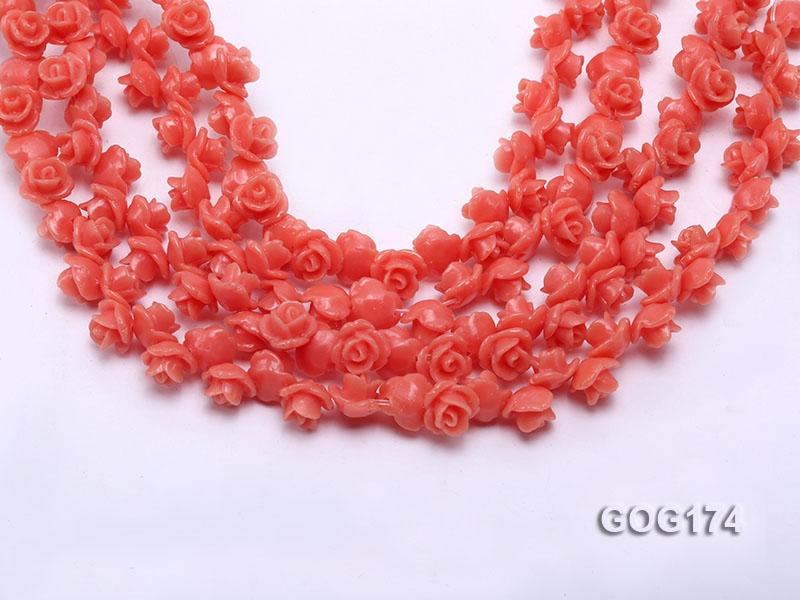 Wholesale 8*11mm Orange Carved Resin Flower String