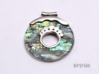 50mm Round Abalone Shell Pendant with beautiful Gilded Metal Pattern