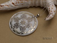 50mm Round Shell Pendant with beautiful Gilded Metal Pattern