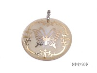 50mm White Shell Pendant with beautiful Gilded Metal Pattern