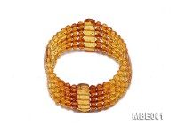 4.5mm Natural Dark Red and Yellow Round Multi-Strand Faceted Amber Bracelate