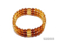 5.5mm Natural Dark Red and Yellow Round Multi-Strand Amber Bracelate