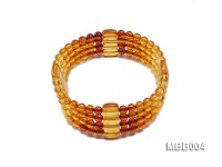 4.5mm Natural Dark Red and Yellow Round Multi-Strand Amber Bracelate