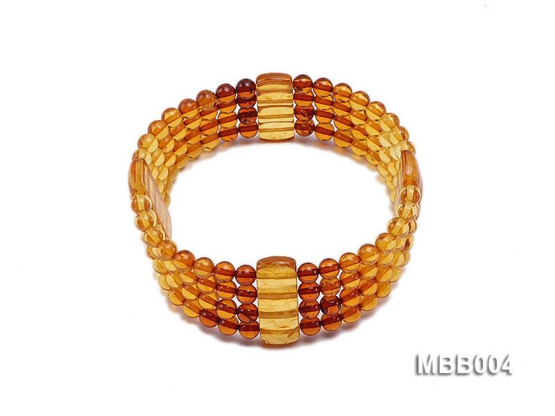 4.5mm Natural Dark Red and Yellow Round Multi-Strand Amber Bracelate
