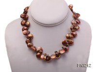 Classic 12*20mm Coffee Side-drilled Button Freshwater Pearl Necklace