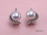 12mm white round south sea pearl earring with 14k white gold and diamonds