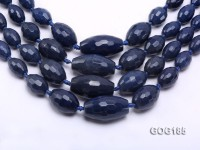 Wholesale 9*13-20*35mm Ink Blue Faceted Oval Gemstone String