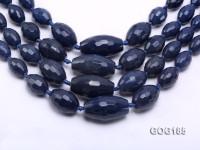Wholesale 9*13-20*35mm Ink Blue Faceted Oval Gemstone String