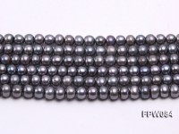 Wholesale 6×7.5mm Black Flat Cultured Freshwater Pearl String