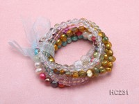 7 strand colorful freshwater pearl and crystal bracelet