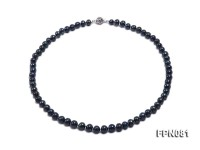 Classic 7.5mm Black Flat Freshwater Pearl Necklace