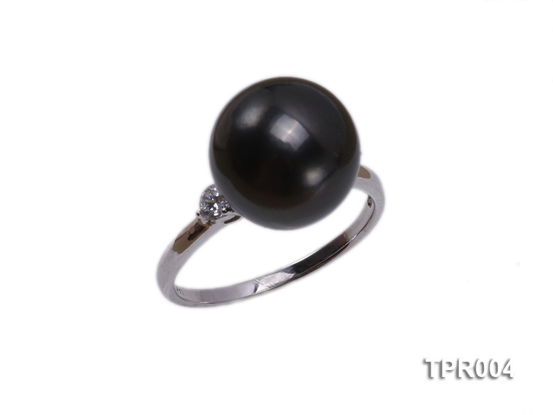 11.7mm black round tahitian pearl ring with 14k white gold ring shank