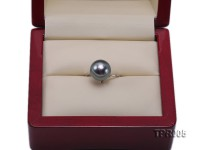 11.4mm black round tahitian pearl ring with 14k white gold ring shank