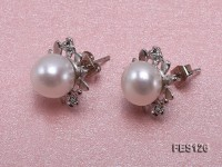8mm White Flat Freshwater Pearl Earrings