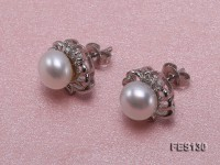 7mm White Flat Freshwater Pearl Earrings