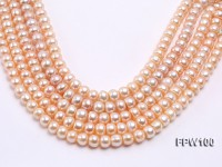 Wholesale 10x12mm Pink Flat Freshwater Pearl String