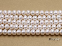 Wholesale 7.5x10mm White Flat Freshwater Pearl String